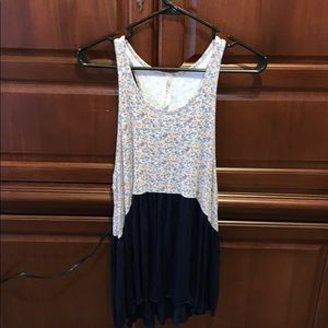 Floral and navy tank top by Andrée